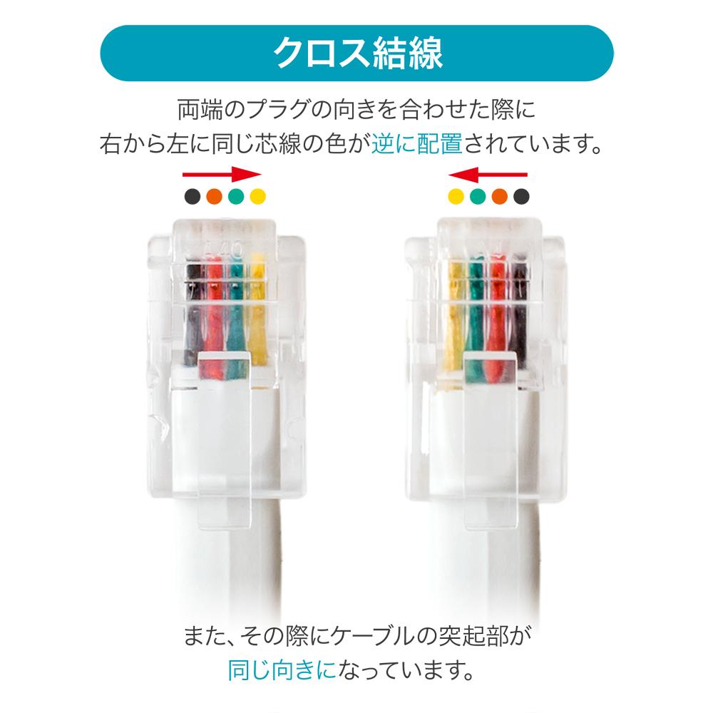 4極4芯 受話器用カールコード クロス結線 片側ロングタイプ [DC-J4L]