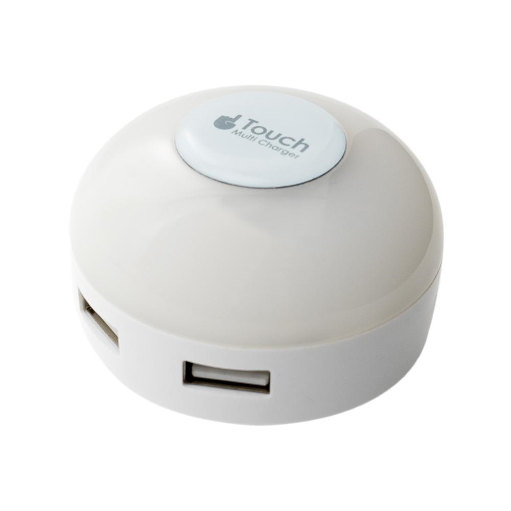 LEDライト搭載 USB2ポート USB-ACアダプタ [IPA-34LL]