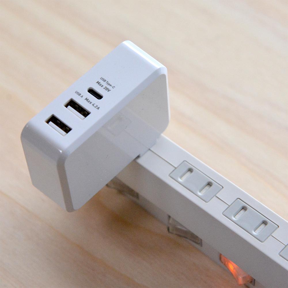 USB PD対応(45W) USB-ACアダプタ 3ポートタイプ [IPA-C03]