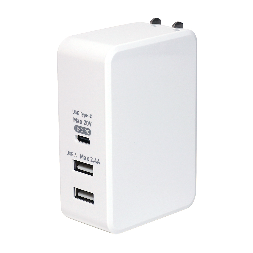 USB PD対応(61W) USB-ACアダプタ 3ポートタイプ [IPA-C05]