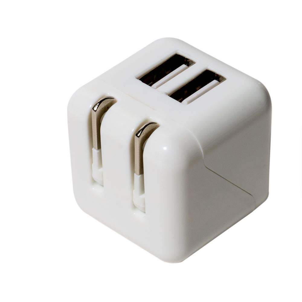 キューブ型 USB-ACアダプタ 2ポート [IPA-US01]