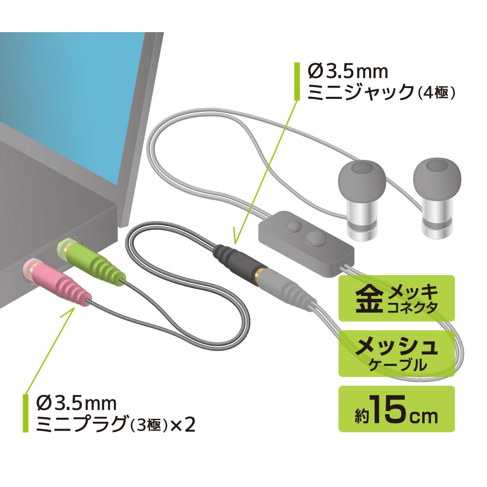オーディオ変換ケーブル パソコン用 [PAA-4P3P]