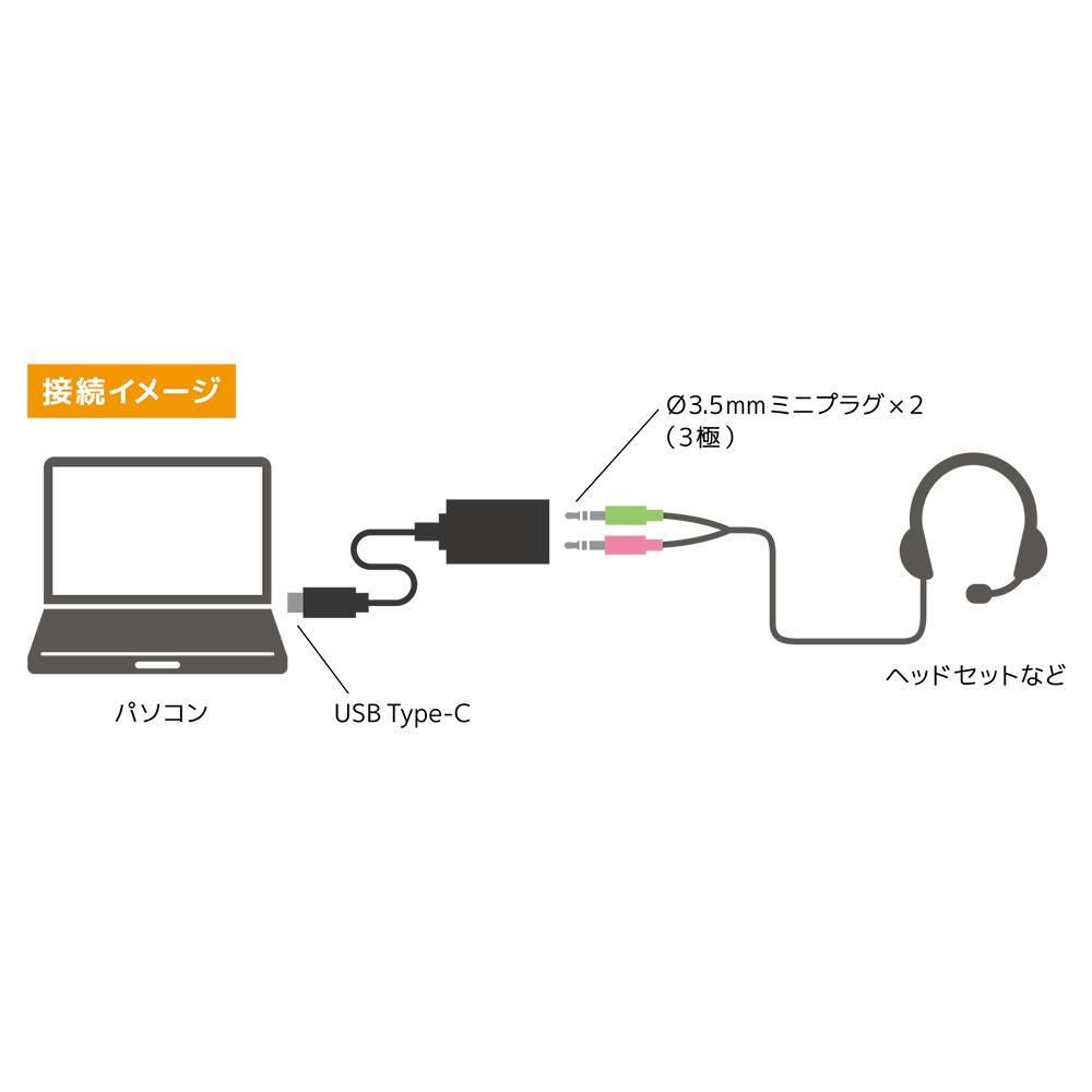 オーディオUSB変換アダプタ Type-C 3極 [PAA-C3P]