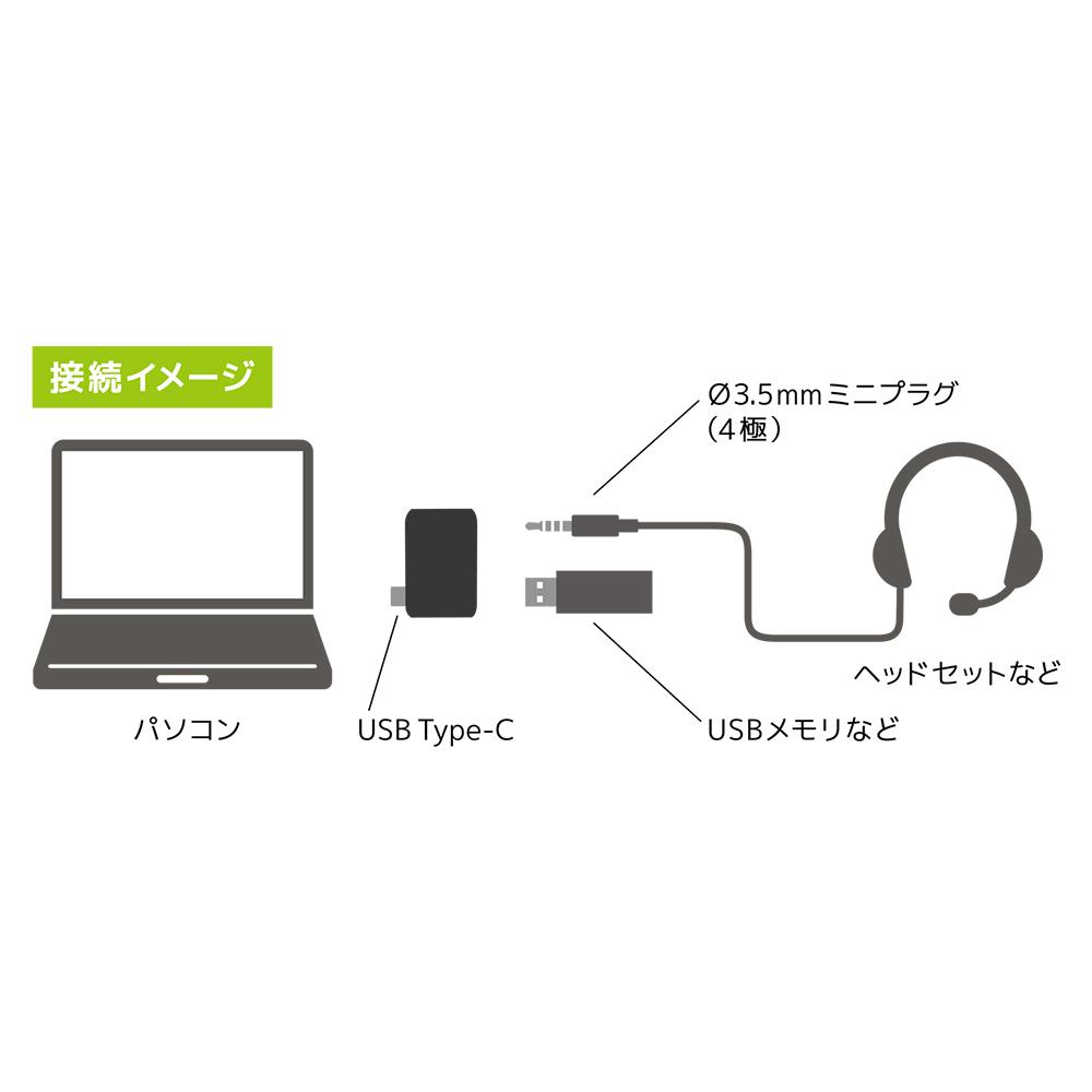 オーディオUSB変換アダプタ Type-C 4極 [PAA-C4P]