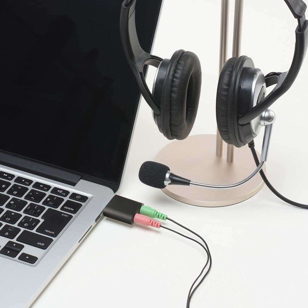 オーディオ変換アダプタ USBポート – 3.5mmミニジャック 3極タイプ [PAA-U3P]