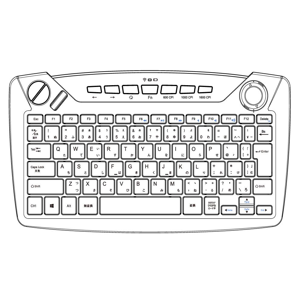 トラックボール内蔵 2.4GHzワイヤレスキーボード [TK-24G05]