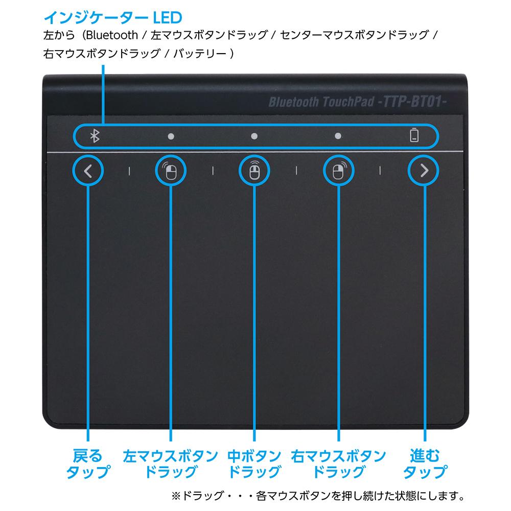 高精度ワイヤレスタッチパッド [TTP-BT01/BK]