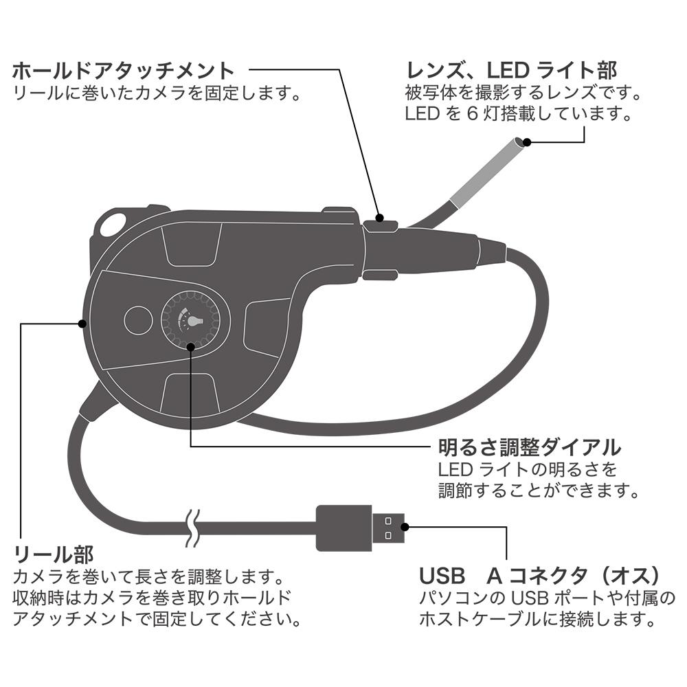 隙間に入るスリムなUSBカメラ グースネックタイプ [UC-03]