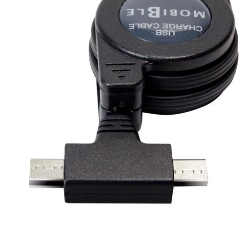 microUSBツインコネクタ搭載 巻取り式ケーブル [SCB-TW01]